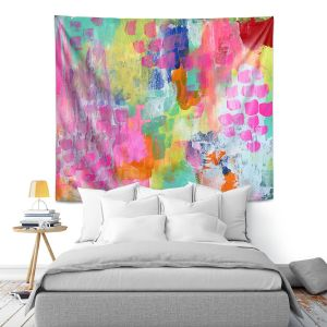 Artistic Wall Tapestry   Robin Mead - Rose Colored Glasses   abstract pattern brushstrokes paint