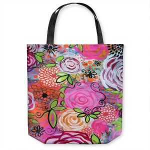 Unique Shoulder Bag Tote Bags | Robin Mead - Rosegarden | flower pattern repetition