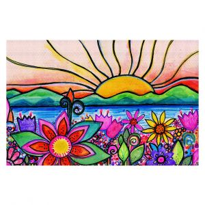 Decorative Floor Covering Mats | Robin Mead - Sea Side | Sunset Sunrise Mountains flowers