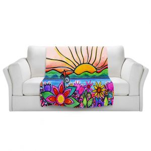 Artistic Sherpa Pile Blankets   Robin Mead - Sea Side   Sunset Sunrise Mountains flowers