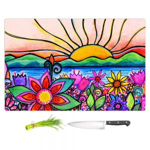 Artistic Kitchen Bar Cutting Boards | Robin Mead - Sea Side | Sunset Sunrise Mountains flowers