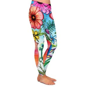 Casual Comfortable Leggings | Robin Mead - Simple Blessings | bird flower nature plants