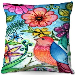 Throw Pillows Decorative Artistic | Robin Mead - Simple Blessings | bird flower nature plants
