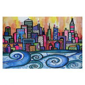 Decorative Floor Coverings | Robin Mead - Summer Skyline | Cityscape Ocean Waves Coast