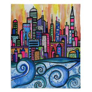 Artistic Sherpa Pile Blankets | Robin Mead - Summer Skyline | Cityscape Ocean Waves Coast