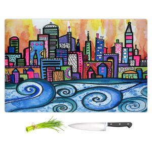 Artistic Kitchen Bar Cutting Boards | Robin Mead - Summer Skyline | Cityscape Ocean Waves Coast