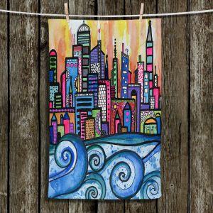 Unique Bathroom Towels | Robin Mead - Summer Skyline | Cityscape Ocean Waves Coast