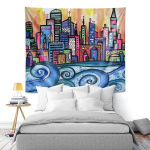 Artistic Wall Tapestry | Robin Mead - Summer Skyline | Cityscape Ocean Waves Coast