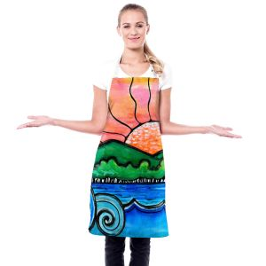 Artistic Bakers Aprons   Robin Mead - Tropical Morning   Landscape Lakes Mountains Sun