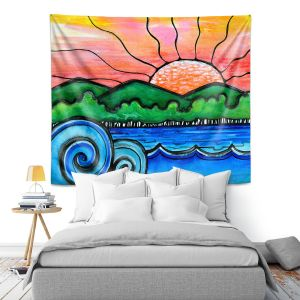 Artistic Wall Tapestry   Robin Mead - Tropical Morning   Landscape Lakes Mountains Sun