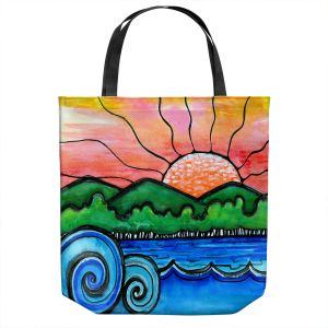 Unique Shoulder Bag Tote Bags   Robin Mead - Tropical Morning   Landscape Lakes Mountains Sun