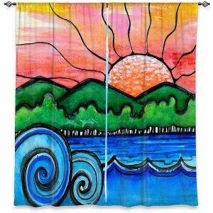 Decorative Window Treatments | Robin Mead - Tropical Morning | Landscape Lakes Mountains Sun