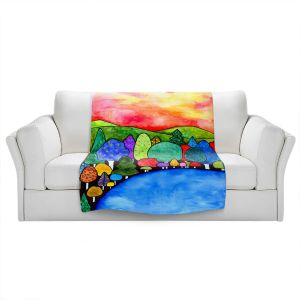 Artistic Sherpa Pile Blankets | Robin Mead - Vacation | Landscape Forest Mountains