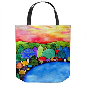Unique Shoulder Bag Tote Bags | Robin Mead - Vacation | Landscape Forest Mountains