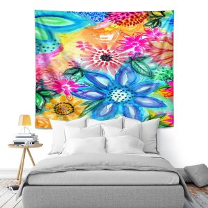 Artistic Wall Tapestry | Robin Mead - Vibrant | flower pattern simple abstract