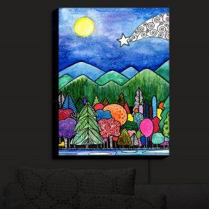 Nightlight Sconce Canvas Light | Robin Mead - Wilderness Town | Nightime Moon Trees stars