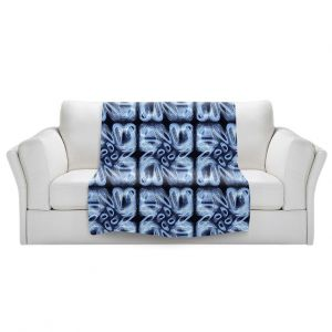 Artistic Sherpa Pile Blankets   Ruth Palmer - Blue Brush   Pattern repetition tile floral