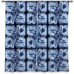 Decorative Window Treatments | Ruth Palmer - Blue Brush | Pattern repetition tile floral