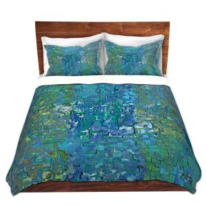 Artistic Duvet Covers and Shams Bedding | Ruth Palmer - Calming Blues | Abstract pattern mosaic