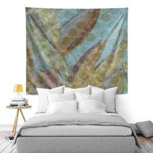 Artistic Wall Tapestry | Ruth Palmer - Double Vision | Nature plant leaves close up circles abstract graphic