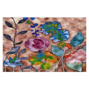Decorative Floor Covering Mats | Ruth Palmer - Fabric Feel Floral | Nature plant graphic close up abstract illustration flower leaves