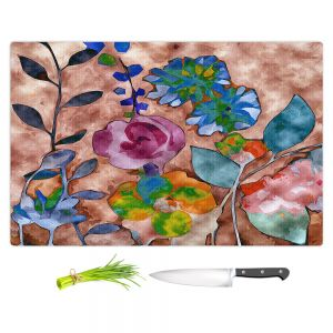Artistic Kitchen Bar Cutting Boards | Ruth Palmer - Fabric Feel Floral | Nature plant graphic close up abstract illustration flower leaves