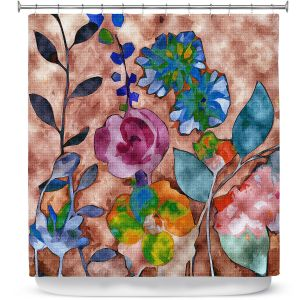 Premium Shower Curtains | Ruth Palmer - Fabric Feel Floral | Nature plant graphic close up abstract illustration flower leaves