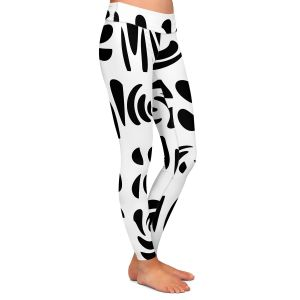 Casual Comfortable Leggings | Ruth Palmer - Fun Black White | Shapes pattern repetition