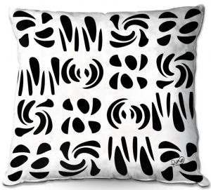 Decorative Outdoor Patio Pillow Cushion   Ruth Palmer - Fun Black White   Shapes pattern repetition