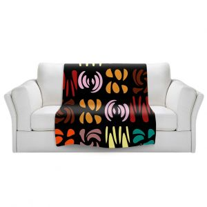 Artistic Sherpa Pile Blankets | Ruth Palmer - Fun Dark Colors | Shapes pattern repetition