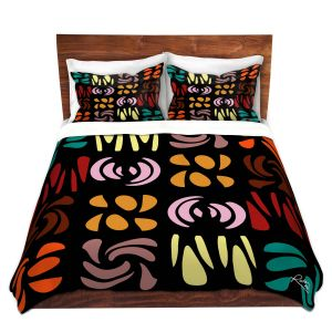 Artistic Duvet Covers and Shams Bedding   Ruth Palmer - Fun Dark Colors   Shapes pattern repetition