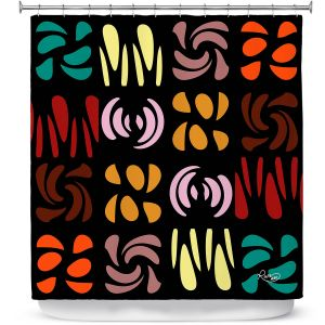 Premium Shower Curtains | Ruth Palmer - Fun Dark Colors | Shapes pattern repetition