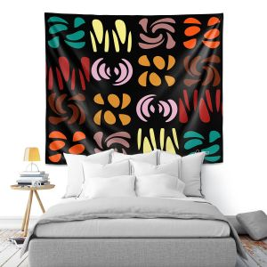 Artistic Wall Tapestry   Ruth Palmer - Fun Dark Colors   Shapes pattern repetition