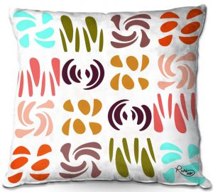 Decorative Outdoor Patio Pillow Cushion   Ruth Palmer - Fun Light Colors   Shapes pattern repetition