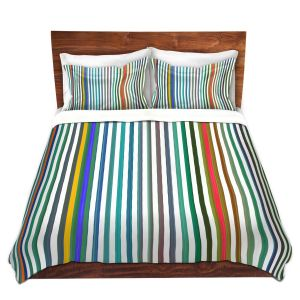 Artistic Duvet Covers and Shams Bedding | Ruth Palmer - Get Your Stripes On | lines pattern pastel rainbow simple