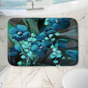 Decorative Bathroom Mats | Ruth Palmer - Indigo Floral | Flowers Nature
