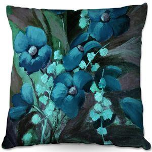 Decorative Outdoor Patio Pillow Cushion | Ruth Palmer - Indigo Floral | Flowers Nature