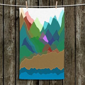 Unique Bathroom Towels | Ruth Palmer - Mountain Multi | Abstract Landscape Lakes Mountains