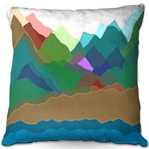Decorative Outdoor Patio Pillow Cushion | Ruth Palmer - Mountain Multi | Abstract Landscape Lakes Mountains