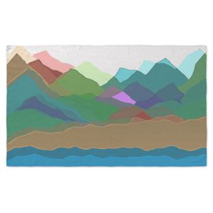 Artistic Pashmina Scarf | Ruth Palmer - Mountain Multi | Abstract Landscape Lakes Mountains