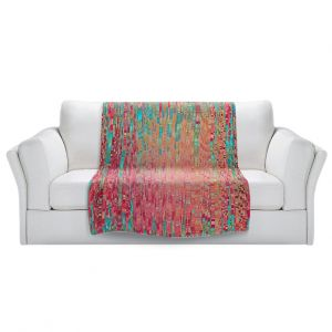 Artistic Sherpa Pile Blankets   Ruth Palmer - Multitude   Squares cube abstract pattern pixel stripes lines