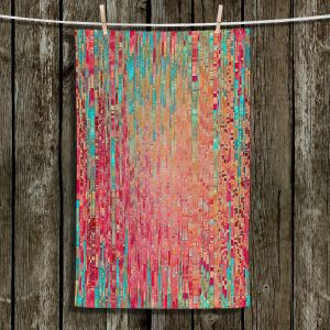 Unique Hanging Tea Towels | Ruth Palmer - Multitude | Squares cube abstract pattern pixel stripes lines