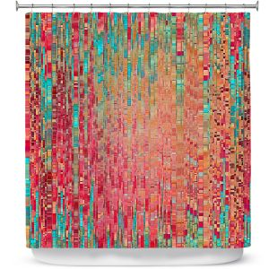 Premium Shower Curtains | Ruth Palmer - Multitude | Squares cube abstract pattern pixel stripes lines