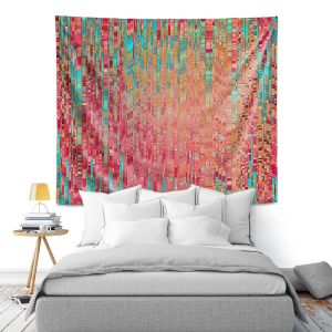 Artistic Wall Tapestry | Ruth Palmer - Multitude | Squares cube abstract pattern pixel stripes lines