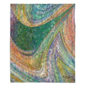 Decorative Fleece Throw Blankets | Ruth Palmer - Muted Cloudy Tiles Pattern | Waves abstract pattern mosaic