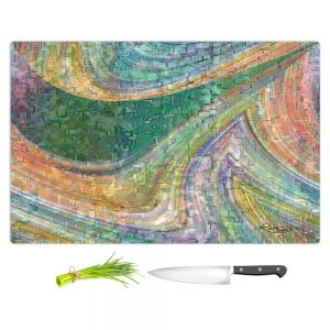 Artistic Kitchen Bar Cutting Boards | Ruth Palmer - Muted Cloudy Tiles Pattern | Waves abstract pattern mosaic