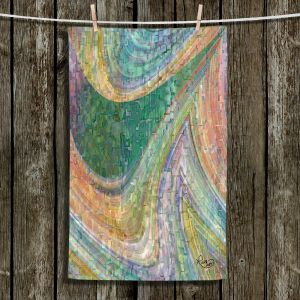 Unique Hanging Tea Towels | Ruth Palmer - Muted Cloudy Tiles Pattern | Waves abstract pattern mosaic
