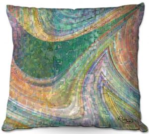 Decorative Outdoor Patio Pillow Cushion | Ruth Palmer - Muted Cloudy Tiles Pattern | Waves abstract pattern mosaic