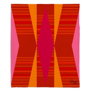 Decorative Fleece Throw Blankets | Ruth Palmer - Orange Pink and Yellow VI | Pattern minimalist stripe