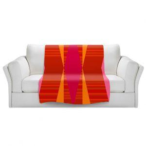 Artistic Sherpa Pile Blankets | Ruth Palmer - Orange Pink and Yellow VI | Pattern minimalist stripe